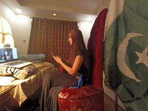 Areej Chaudhary, Miss Earth Pakistan 2020 during the Miss Earth 2020 competition in a live interview.
